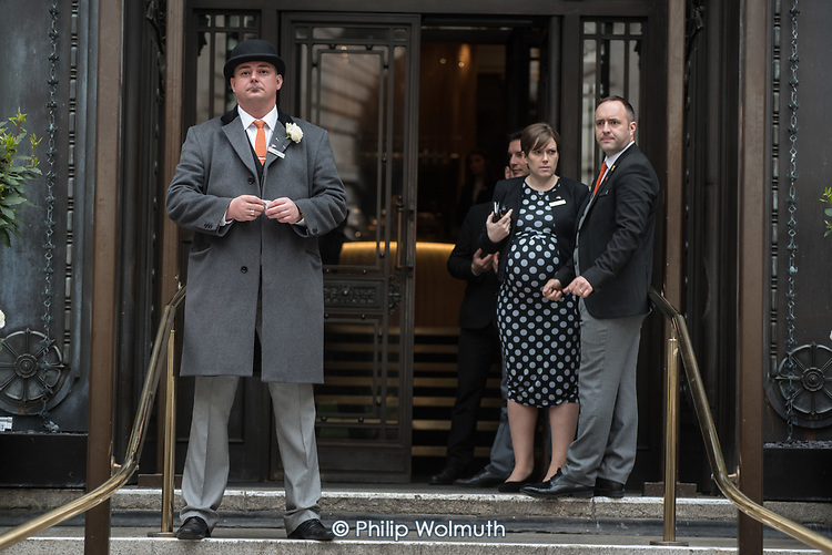 Hotel staff at the Marriott County Hall prevent journalists entry to a UKIP election press conference after an occupation by anti-racist protesters.