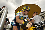 Lance Armstrong (USA) Astana prepares to start Stage 18 of the Tour de France 2009 an individual time trial running 40.5km around Lake Annecy, France. 23rd July 2009 (Photo by Eoin Clarke/NEWSFILE)