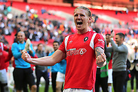 Carl Piergianni of Salford City celebrates their victory at the final whistle during AFC Fylde vs Salford City, Vanarama National League Football Promotion Final at Wembley Stadium on 11th May 2019