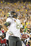 01/09/2011 - LaMichael James celebrates the after scoring the first touchdown for the Ducks in the first half during the BCS National Championship game in Scottsdale, Arizona.