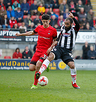 Grimsby Town's Dominic Vose challenges Leyton Orient's Steve Alzate during the Sky Bet League 2 match between Leyton Orient and Grimsby Town at the Matchroom Stadium, London, England on 11 March 2017. Photo by Carlton Myrie / PRiME Media Images.