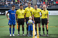 Seattle, WA - Saturday Aug. 27, 2016: Keelin Winters, Rosendo Mendoza, Alicia Messer; Francisco Bermudez, Levi Rippy prior to a regular season National Women's Soccer League (NWSL) match between the Seattle Reign FC and the Portland Thorns FC at Memorial Stadium.