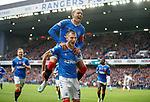 06.10.2019 Rangers v Hamilton: Borna Barisic celebrates his goal for Rangers with James Tavernier