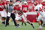 Wisconsin Badgers running back James White (20) scores a touchdown during an NCAA college football game against the South Dakota Coyotes on September 24, 2011 in Madison, Wisconsin. The Badgers won 59-10. (Photo by David Stluka)