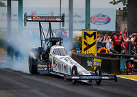 Jun 9, 2019; Topeka, KS, USA; NHRA top fuel driver Austin Prock during the Heartland Nationals at Heartland Motorsports Park. Mandatory Credit: Mark J. Rebilas-USA TODAY Sports