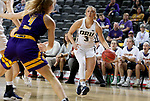 SIOUX FALLS, SD - MARCH 8: Katie Kirkhart #3 of the Oral Roberts Golden Eagles drives to the basket against Western Illinois Leathernecks defense at the 2020 Summit League Basketball Championship in Sioux Falls, SD. (Photo by Dave Eggen/Inertia)
