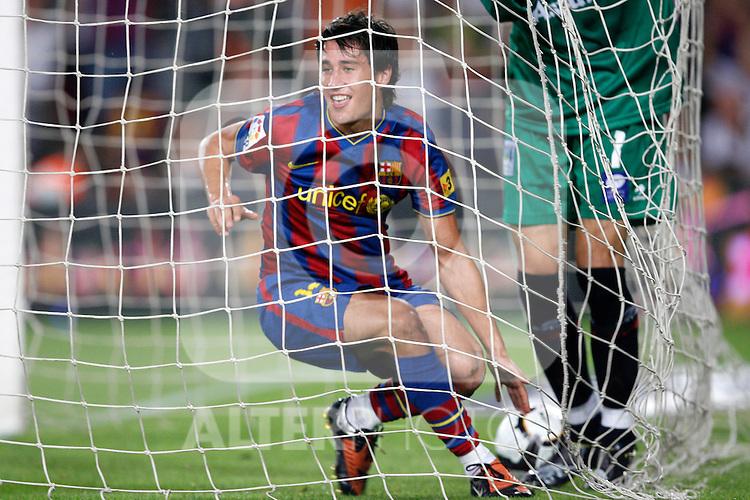 FC Barcelona's Bojan Krkic celebrates goal during  La Liga match.August 31 2009. (ALTERPHOTOS/Acero).