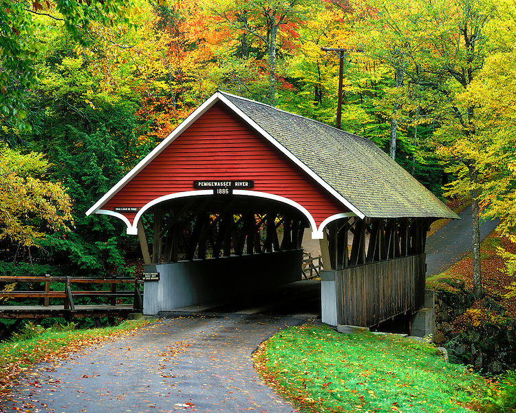 Fall color at the covered bridge (1886) over the Pemigewasset River; Franconia Notch State Park, NH