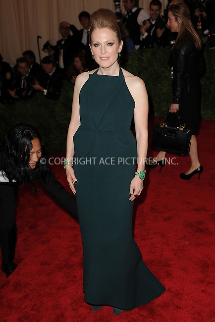 WWW.ACEPIXS.COM . . . . . .May 6, 2013...New York City.....Julianne Moore attending the PUNK: Chaos to Couture Costume Institute Benefit Gala at The Metropolitan Museum of Art in New York City on May 6, 2013  in New York City ....Please byline: Kristin Callahan...ACEPIXS.COM...Ace Pictures, Inc: ..tel: (212) 243 8787 or (646) 769 0430..e-mail: info@acepixs.com..web: http://www.acepixs.com .