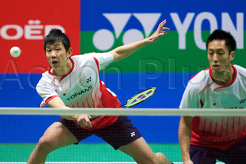 10.03.2012 Birmingham, England. Hirokatsu Hashimoto (JPN) and Noriyasu Hirata (JPN) in action during the Yonex All England Open Badminton Championships at the National Indoor Arena.