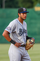 Biloxi Shuckers third baseman Jake Gatewood (7) during a Southern League game against the Jackson Generals on June 14, 2019 at The Ballpark at Jackson in Jackson, Tennessee. Jackson defeated Biloxi 4-3. (Brad Krause/Four Seam Images)