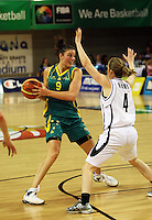 Opals forward Hollie Grima looks for support as Erin Rooney marks her during the International women's basketball match between NZ Tall Ferns and Australian Opals at Te Rauparaha Stadium, Porirua, Wellington, New Zealand on Monday 31 August 2009. Photo: Dave Lintott / lintottphoto.co.nz
