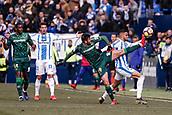 10th February 2019,  Estadio Municipal de Butarque, Leganes, Spain; La Liga football, Leganes versus Real Betis; AntonioBarragan (Betis) challenges for the ball with Youssef En-Nesyri (CD Leganes)