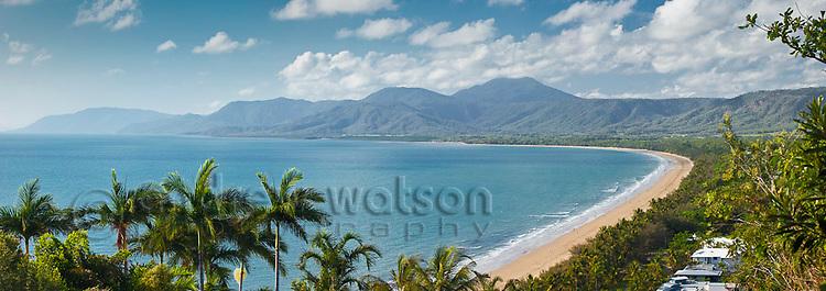 View along Four Mile Beach from Flagstaff Hill lookout.  Port Douglas, Queensland, Australia