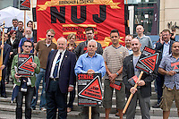 Monday 1st Aug 2011 The NUJ who's members are on strike were joined by the PCS Union and other trade unionists to picket the BBC Mailbox studio, Birmingham,.In response to the BBC management plans for compulsory redundancies to its workforce nationwide
