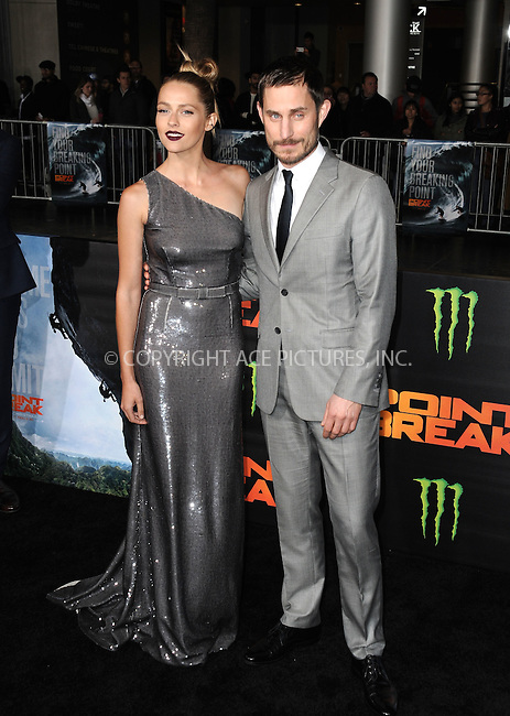 WWW.ACEPIXS.COM<br /> <br /> December 15 2015, LA<br /> <br /> Teresa Palmer and Clemens Schick arriving at the premiere of 'Point Break' at the TCL Chinese Theatre on December 15, 2015 in Hollywood, California.<br /> <br /> By Line: Peter West/ACE Pictures<br /> <br /> <br /> ACE Pictures, Inc.<br /> tel: 646 769 0430<br /> Email: info@acepixs.com<br /> www.acepixs.com