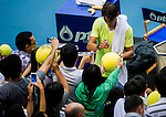 Rafael Nadal of Spain signs autographs during the Day 8 of the PTT Thailand Open at Impact Arena on October 2, 2010 in Bangkok, Thailand. Photo by Victor Fraile / The Power of Sport Images