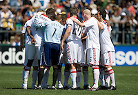 April 11, 2009:  Fire teammates gather before start of 2nd half during a game against the Earthquakes at Buck Shaw Stadium in Santa Clara, California. San Jose Earthquakes and Chicago Fire tied, 3-3