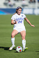 Cary, North Carolina - Sunday December 6, 2015: Morgan Reid (24) of the Duke Blue Devils kicks the ball during first half action against the Penn State Nittany Lions at the 2015 NCAA Women's College Cup at WakeMed Soccer Park.  The Nittany Lions defeated the Blue Devils 1-0.