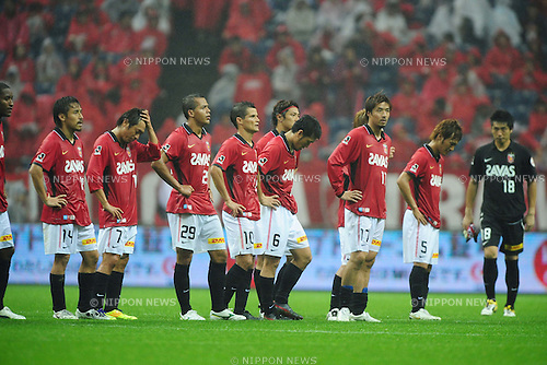 Urawa Reds team group, JUNE 18th, 2011 - Football : Urawa Reds players look dejected after the 2011 J.League Division 1 match between Urawa Red Diamonds 1-3 Shimizu S-Pulse at Saitama Stadium 2002 in Saitama, Japan. (Photo by AFLO).