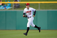 Indianapolis Indians right fielder Austin Meadows (13) jogs to the dugout during a game against the Toledo Mud Hens on May 2, 2017 at Victory Field in Indianapolis, Indiana.  Indianapolis defeated Toledo 9-2.  (Mike Janes/Four Seam Images)