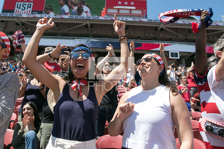Santa Clara, CA - Sunday May 12, 2019: Fans cheer the women's national teams of the United States (USA) during their game against South Africa (RSA) play in an international friendly match at Levi's Stadium.