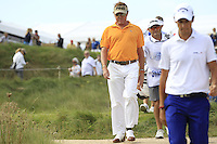 Miguel Angel Jimenez (ESP) on the 1st during Round 2 of the KLM Open at Kennemer Golf &amp; Country Club on Friday 12th September 2014.<br /> Picture:  Thos Caffrey / www.golffile