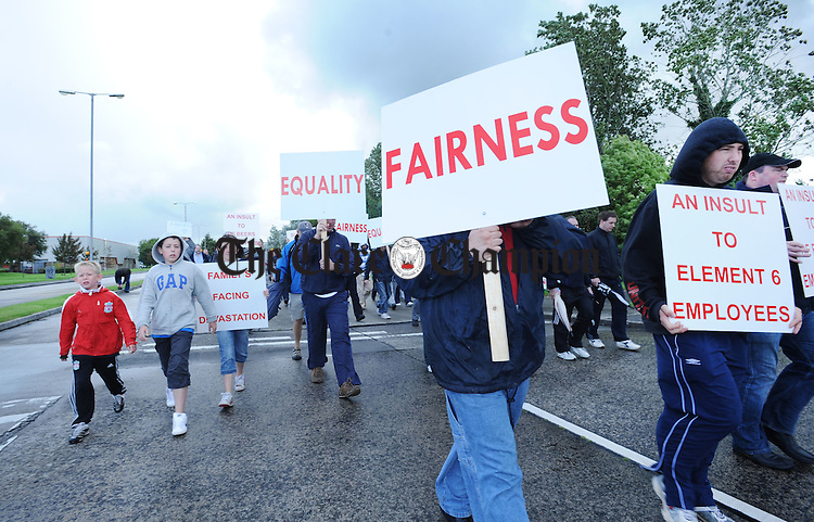 Element Six employees and their families protesting outside the plant in Shannon. Photograph by Declan Monaghan