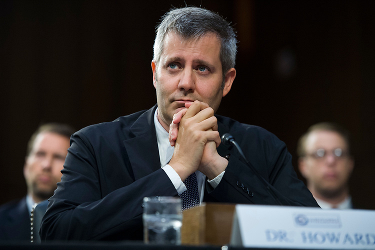 "UNITED STATES - AUGUST 01: Dr. Philip Howard, director of the Oxford Internet Institute, testifies during a Senate (Select) Intelligence Committee hearing in Hart Building titled ""Foreign Influence on Social Media Platforms: Perspectives from Third-Party Social Media Experts,"" on August 1, 2018. (Photo By Tom Williams/CQ Roll Call)"