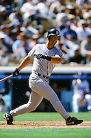 Tino Martinez of the New York Yankees during a game against the Los Angeles Dodgers circa 1999 at Dodger Stadium in Los Angeles, California. (Larry Goren/Four Seam Images)