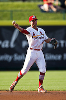 Greg Garcia (10) of the Springfield Cardinals throws a ball to second base during a game against the Arkansas Travelers at Hammons Field on May 5, 2012 in Springfield, Missouri. (David Welker/Four Seam Images)