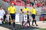09 August 2014: Match officials. From left: Assistant referee Bill Dittmar, Referee Hilario Grajeda, and assistant referee Paul Scott. Real Salt Lake hosted DC United at Rio Tinto Stadium in Sandy, Utah in a 2014 Major League Soccer regular season game. Salt Lake won the game 3-0.