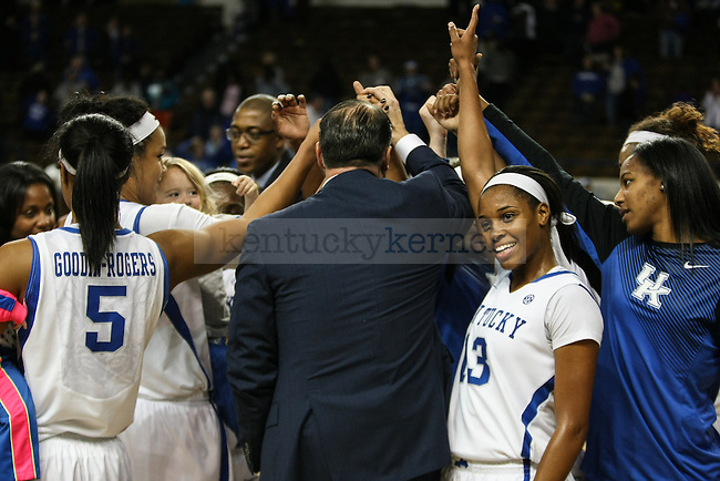 The Kentucky women's basketball team huddles together after their victory over Middle Tennessee State at Memorial Coliseum  on Friday, December 12, 2014 in Lexington, Ky. UK defeated Middle Tennessee 78-62. Photo by Adam Pennavaria | Staff