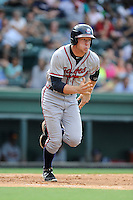 Center fielder Connor Lien (7) of the Rome Braves in a game against the Greenville Drive on Sunday, August 3, 2014, at Fluor Field at the West End in Greenville, South Carolina. Rome won, 4-2. (Tom Priddy/Four Seam Images)