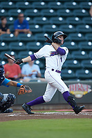Luis Gonzalez (8) of the Winston-Salem Dash follows through on his swing against the Myrtle Beach Pelicans at BB&T Ballpark on August 6, 2018 in Winston-Salem, North Carolina. The Dash defeated the Pelicans 6-3. (Brian Westerholt/Four Seam Images)