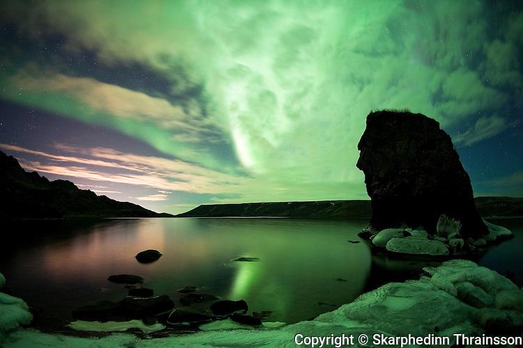 Aurora Borealis at Kleifarvatn, Reykjanes peninsula, west Iceland