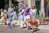Four-legged friends take a stroll down Main Street during the fourth annual Mardi Paws Parade and Pet Fest hosted by the Collier Spay Neuter Clinic, held on Saturday, Feb. 26 at the Mercato Shopping Center in Naples. <br /> The Mardi Gra-themed celebration included live music, pet costume contests, and a parade. Photo by Debi Pittman Wilkey