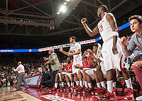 NWA Democrat-Gazette/ANTHONY REYES &bull; @NWATONYR<br /> The Arkansas bench celebrates a made free throw against Tennessee late in the second half to put the game out of reach for the Volunteers Tuesday, Jan. 27, 2015 in Bud Walton Arena in Fayetteville. The Razorbacks won 69-64.
