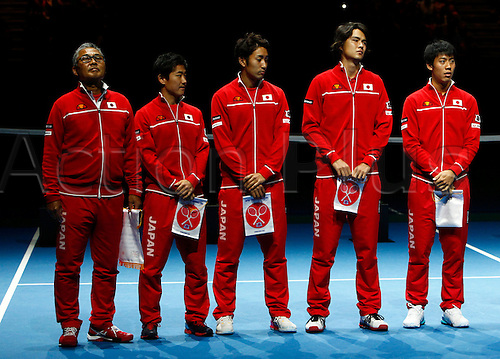04.03.2016. Barclaycard Arena, Birmingham, England. Davis Cup Tennis World Group First Round. Great Britain versus Japan. The Japan team before the match as the national anthems are played.