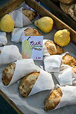 USA, Oregon, Ashland, Pennington Farms pear turnovers for sale at the Rogue Valley Growers and Crafters Market
