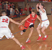 RICK PECK/SPECIAL TO MCDONALD COUNTY PRESS<br /> McDonald County's Boston Dowd drives between Webb City's Jaystin Smith (22) and Tanner Rogers (2) during Webb City's 41-35 win on Feb. 27 in the semifinals of the Missouri Class 4 District 12 Basketball Tournament at Webb City High School.