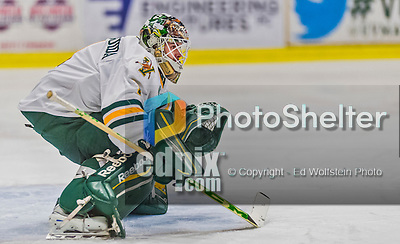 21 February 2015:  University of Vermont Catamount Goaltender Mike Santaguida, a Sophomore from Mississauga, Ontario, in third period action against the Merrimack College Warriors at Gutterson Fieldhouse in Burlington, Vermont. The teams played to a scoreless tie as the Cats wrapped up their Hockey East regular home season. Mandatory Credit: Ed Wolfstein Photo *** RAW (NEF) Image File Available ***