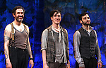 Kevin Del Aguila, Carson Elrod & Teddy Bergman.during the Broadway Opening Night Performance Curtain Call for 'Peter And The Starcatcher' at the Brooks Atkinson Theatre on 4/15/2012 in New York City.