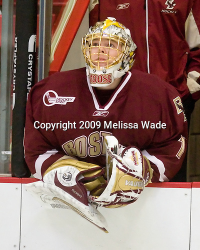 John Muse (BC - 1) - The Boston College Eagles defeated the Harvard University Crimson 3-2 on Wednesday, December 9, 2009, at Bright Hockey Center in Cambridge, Massachusetts.