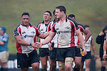 Poaloi Taula congratulates Kristen Ormsby on the Steelers victory. Air New Zealand Cup pre-season rugby game between the Counties Manukau Steelers & Northland, played at Growers Stadium on July 21st, 2007. Counties Manukau won 28 - 17.