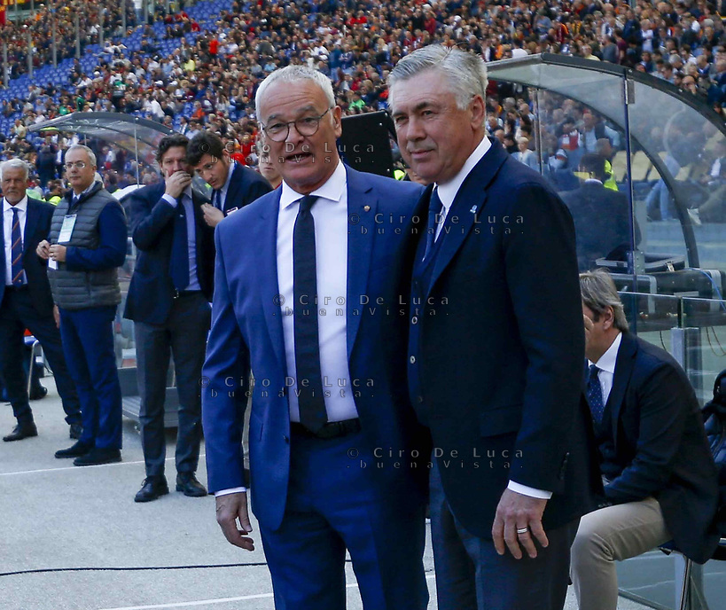 Carlo Ancelotti coach of Napoli   Claudio Ranieri off Roma before the  italian serie a soccer match, AS Roma -  SSC Napoli       at  the Stadio Olimpico in Rome  Italy , March 31, 2019