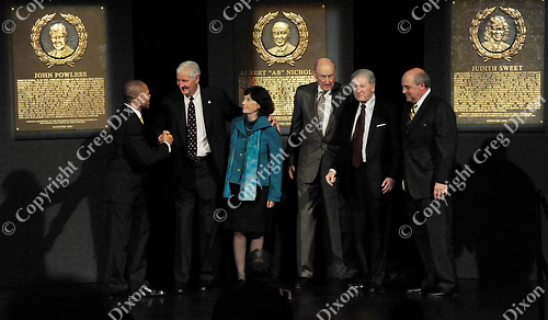 2009 inductees of the Wisconsin Athletic Hall of Fame - Left to right: Lee Kemp, John Powless, Judy Sweet, Ab Nicholas, Bob Harlan, and Barry Alvarez