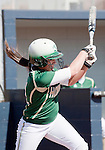 March 7, 2012:   Sacramento State Hornets lead off hitter Devin Caldwell singles against the Nevada Wolf Pack during their NCAA softball game played at Christina M. Hixson Softball Park on Wednesday in Reno, Nevada.