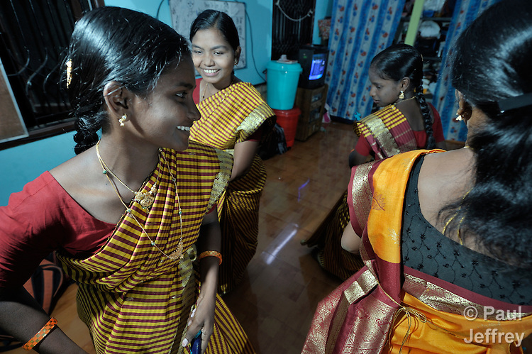 Girls dance for evening recreation in a shelter in Chennai, India, for women and their children affected by domestic violence or trafficking. The shelter is run by the Madras Christian Council of Social Service.