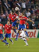CARSON, CA – JANUARY 22: Chile defender Sebastian Toro (5), midfielder Francisco Silva (6) and USA forward Juan Agudelo (17) during the international friendly match between USA and Chile at the Home Depot Center, January 22, 2011 in Carson, California. Final score USA 1, Chile 1.
